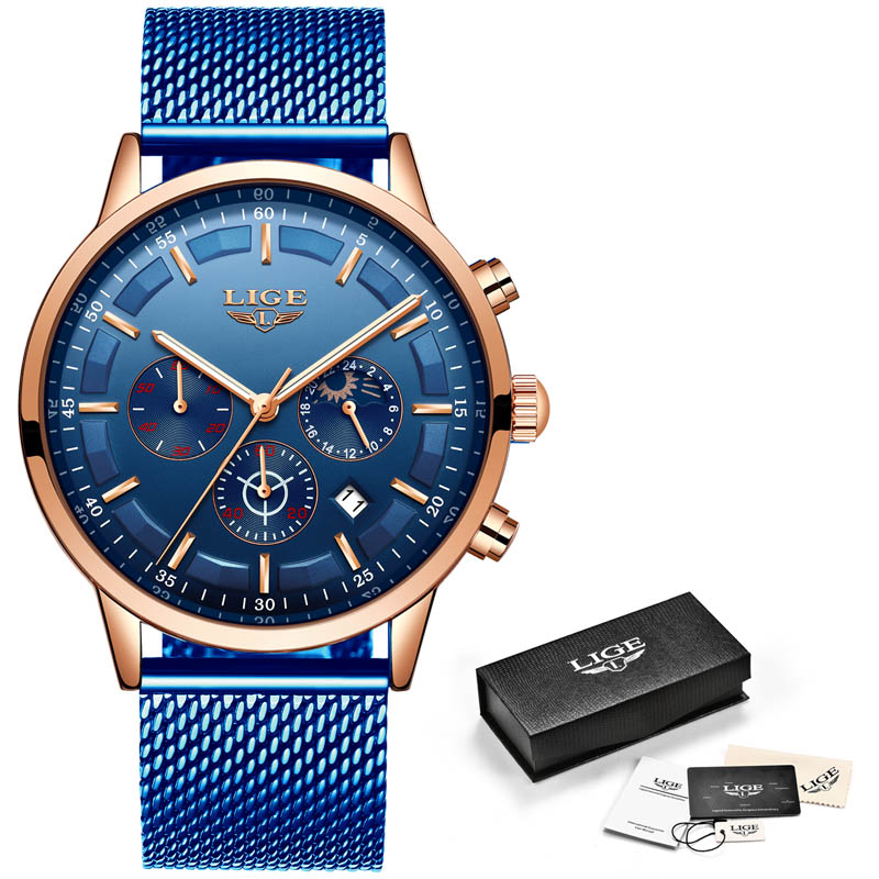 Relogio Masculino LIGE Luxury Quartz Watch for Men Blue Dial Watches Sports Watches Moon Phase Chronograph Mesh Belt Wrist Watch 5