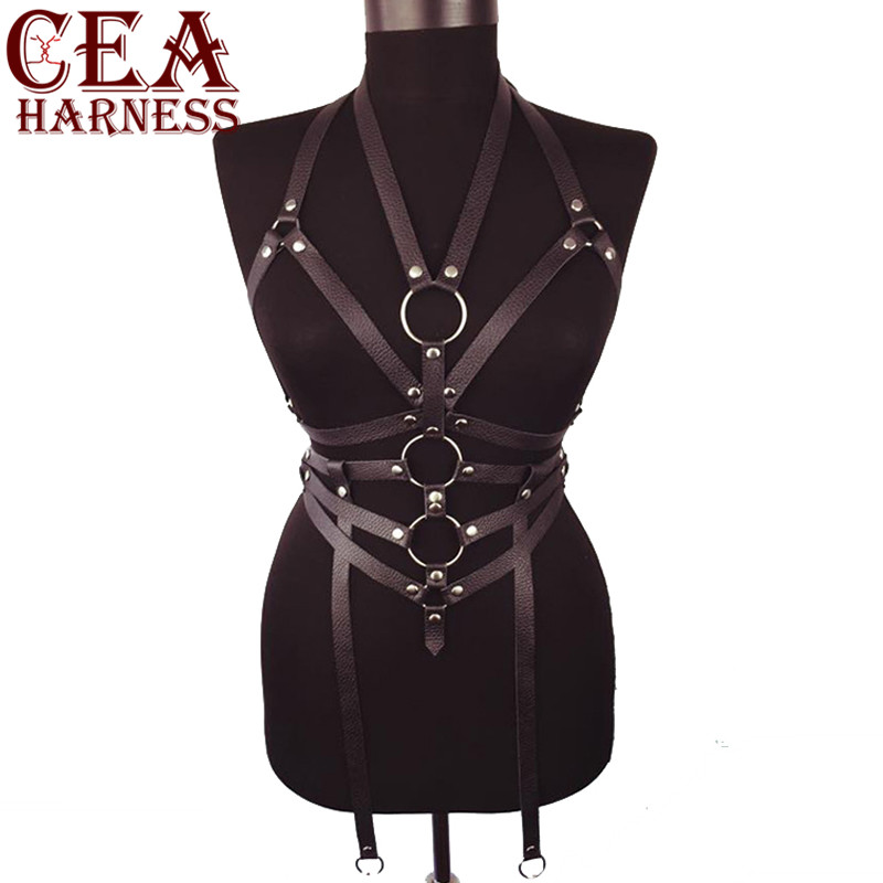 CEA.HARNESS PU Leather Harness Trendy Sexy Belts Harajuku Women Slim Studded Punk Body Adult Fetish Bondage Garters Chest Belt