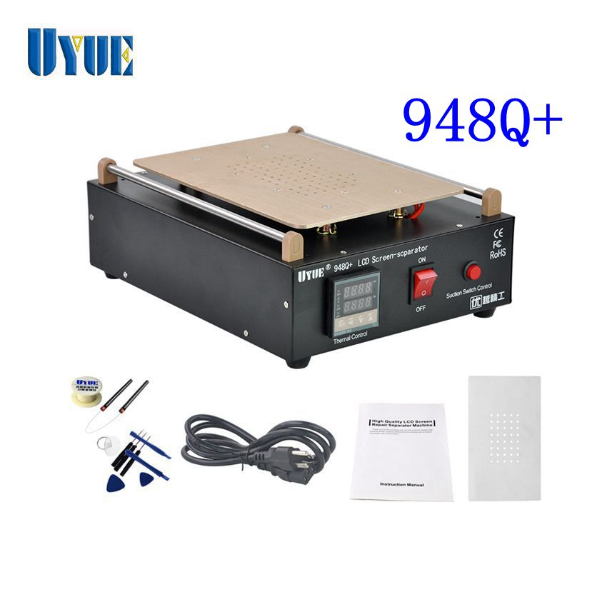 Hottest UYUE 948Q+ Built-in Vacuum Pump Mobile Phone LCD Screen Separator Machine Max 11 inches Lens Glass Repair + 100m Cutting uyue 948q 110 220v built in pump vacuum metal body glass lcd screen separator machine max 7inches cutting wire 50m silicon plate
