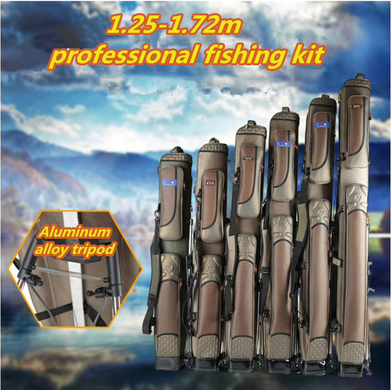 1.25-1.6-1.7 M 3-layer fishing rod bag large capacity extension accessories tool sac fishing backpack tackle Oversized bag pesca sougayilang fishing rod bag 130cm camouflage double layer waterproof fishing tackle bag canvas fishing bag backpack fishing bag