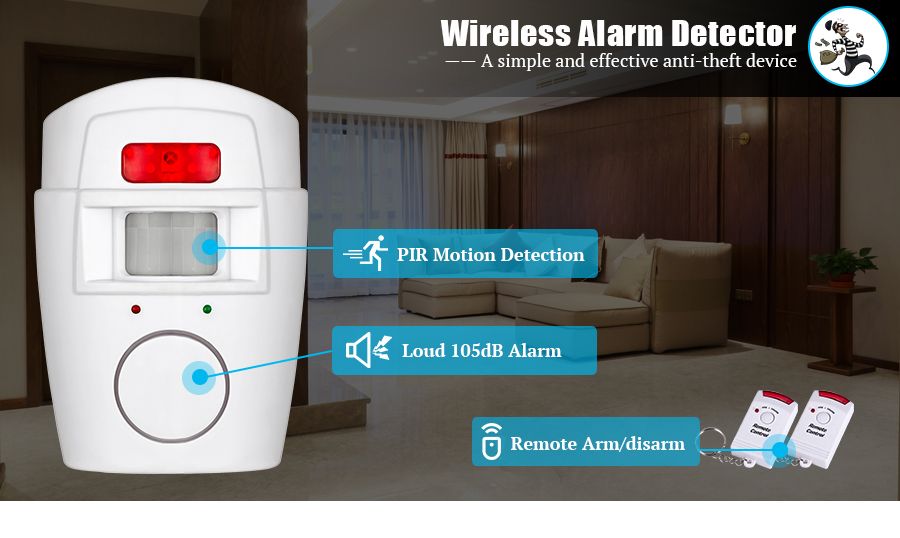Home Security PIR MP Alert Infrared Sensor Anti-theft Motion Detector Alarm Monitor Wireless Alarm system+2 remote controller 13