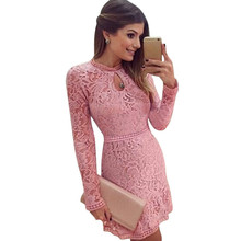 New Arrive Vestidos Women Fashion Casual Lace Dress 2017 O-Neck Sleeve Pink Evening Party Dresses Vestido de festa Brasil Trend