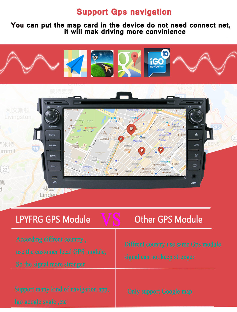 Clearance 4G+32G for Toyota corolla 2007 2008 2009 2010 2011 car dvd gps navigation android 9.0 car console car radio player car HD stereo 7