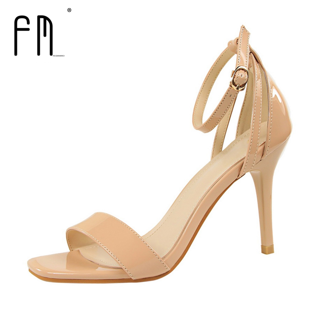 FEDIMIRO Sexy Open Toe High Heel Sandals Women 2017 New Arrive Wedding Shoes Party Thin Heels Pumps shoes Top Quality women brands shoes evening high heels black patent leather sandals open toe thin heel sexy party shoes new arrival 2017 handmade