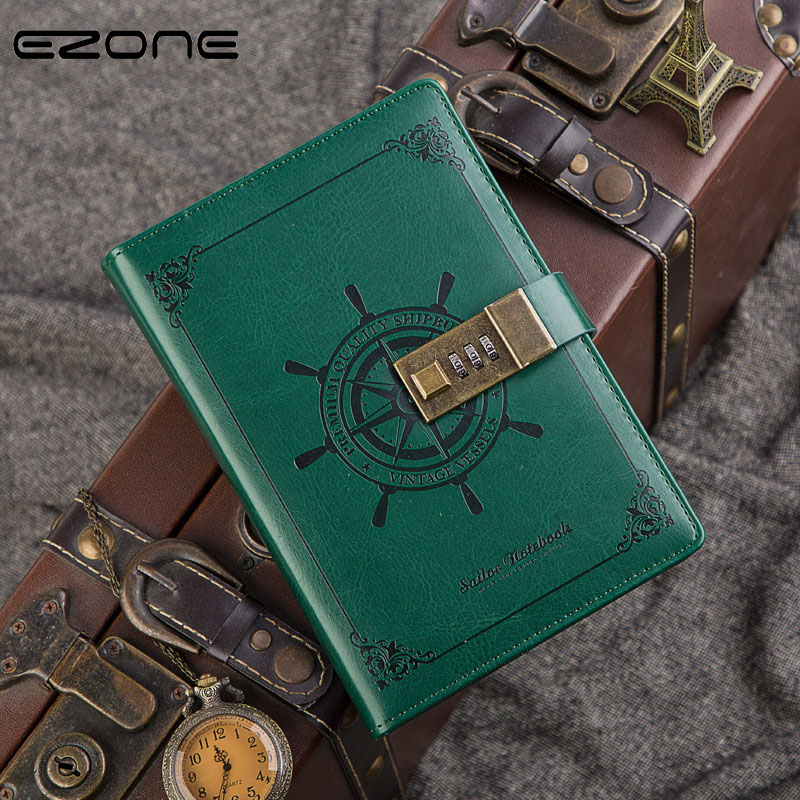 EZONE Vintage Notebook Creative Trends Note Book Simple Colored Notepad With Password Code Lock School Stationery Supplies Gifts vintage b6 black green rose embossed leather journal diary with password lock notebook for office school stationery supplies