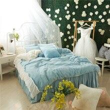 Light Blue Pink Gray White Soft Fleece Fabric Girls Bedding set Flannel Velvet Duvet Cover Bed Skirt Bed Sheet/Linen Pillowcases конверт флисовый kaiser iglu thermo fleece anthracite light gray