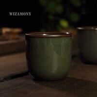 2pcs Chinese Longquan Celadon Porcelain China Teacups SaucerTea Bowl Iron Body 110ml China Tea Pot Celadon Crackle Tea Set