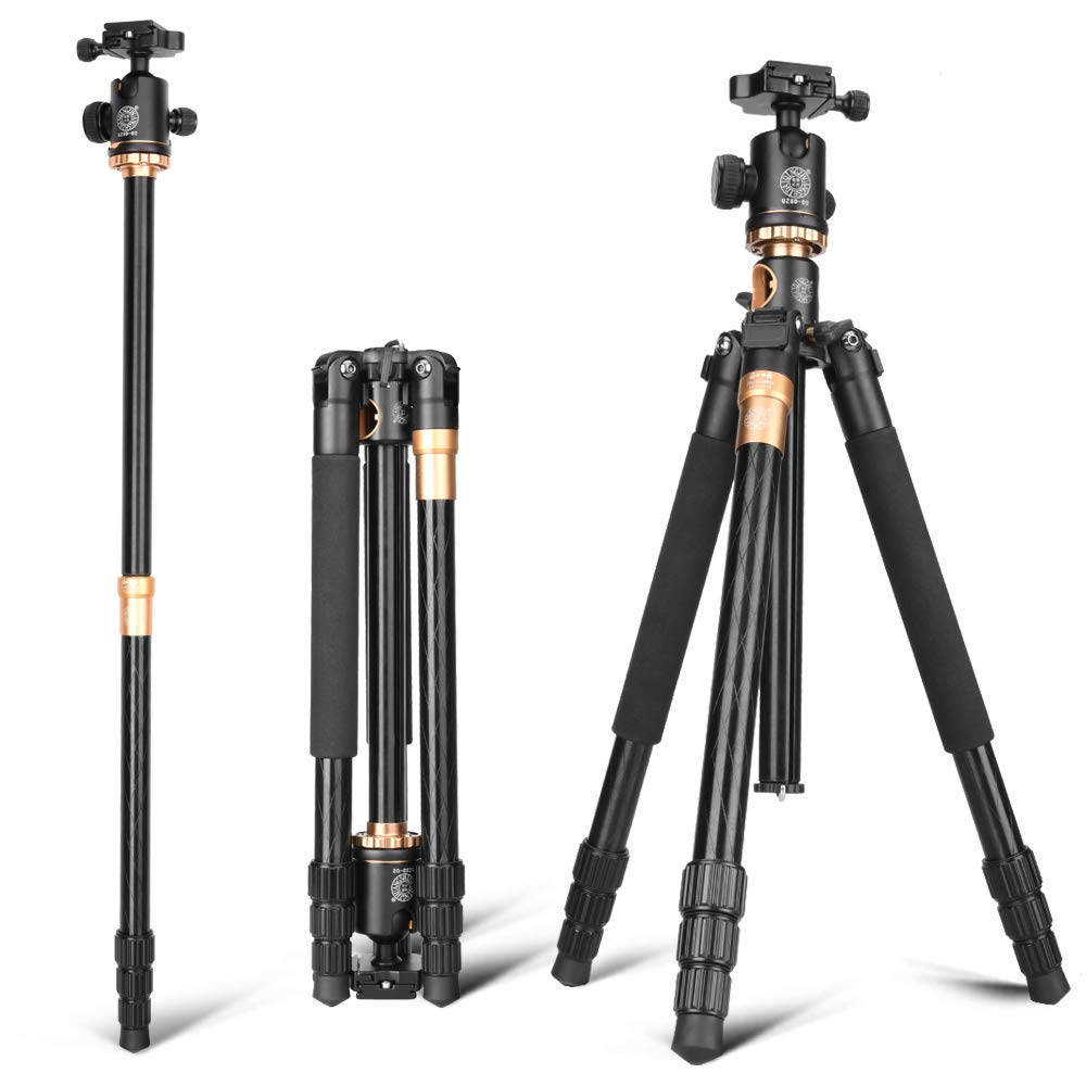 Image 3 - Cadiso Q999H Professional Video Camera Tripod 61 Inch Portable Compact Travel Horizontal Tripod with Ball Head for Camera-in Live Tripods from Consumer Electronics