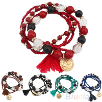 Women's Bohemian Multilayer Mixed Acrylic Beads Rhinestone Elastic Bracelet 1P22