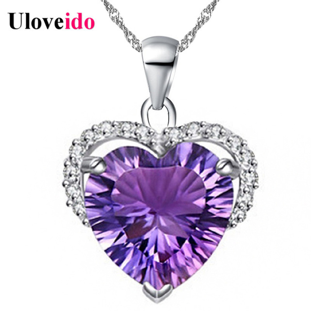 Uloveido Rhinestone Heart Pendant Silver Color Necklaces & Pendants Gifts for Women Bijoux Purple Stone Colar Chain 5% Off DZ006