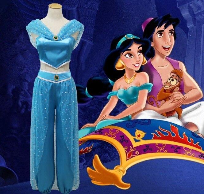 Adult Women Girl Children Anime Aladdin Princess Jasmine Cosplay Costume Clothing Принцесса Жасмин
