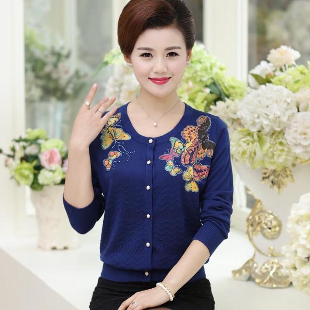 Женская весна и осень с длинными рукавами большой ярдов свитер кардиган куртки вышивка женские свободные вязать кашемировые свитера