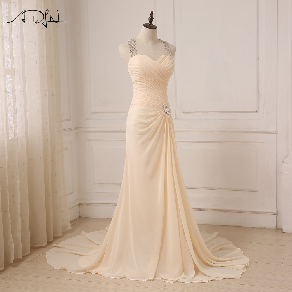 Champagne Sleeveless Halter Backless Sweep Train Chiffon Crystal Wedding Dress