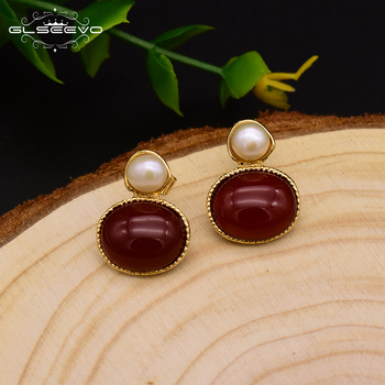 Round Red Agate  Earrings