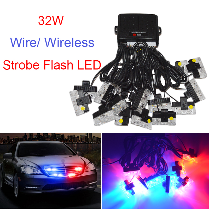 new The wireless remote control 16X2 LEd 12V Car Warning Light 32W Flash Strobe Light Lights for Automobile Front 03040 wireless remote strobe control module universal for led stoplight drl flash controller for car back up fog light 16 patterns
