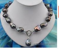 Rare 18 25mm baroque black keshi reborn pearl necklace pendantLovely Women's Wedding Jewelry Pretty!