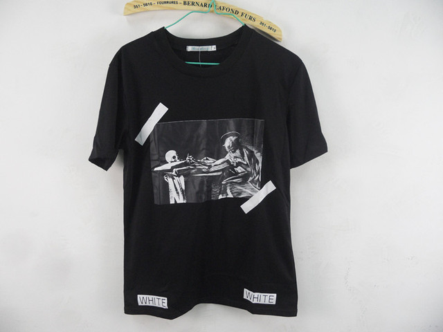 9919ff7f 2015 summer men brand off white VIRGIL ABLOH T shirt tee print religion  painting CARAVAGGIO 13 stripe cotton kanye west tshirt