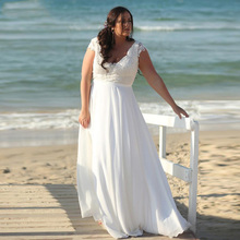 New Arrival Plus Size Beach Summer Wedding Dresses 2019 Deep V-neck Lace Applique Chiffon Bridal Gowns Robe De Mariage
