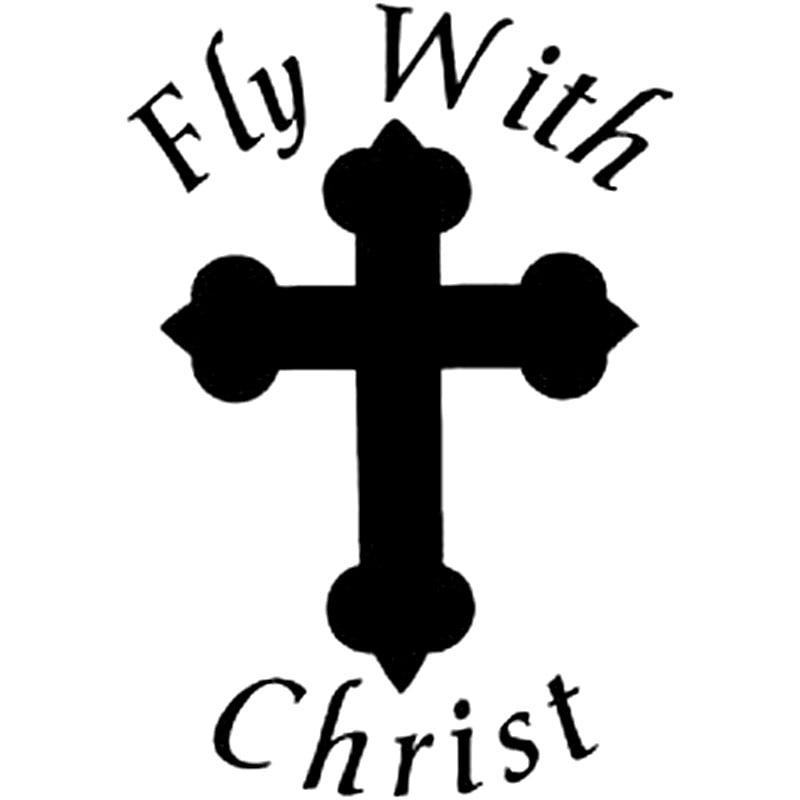 11 1cm 16cm Fly With Christ Sticker Cross God Jesus Car