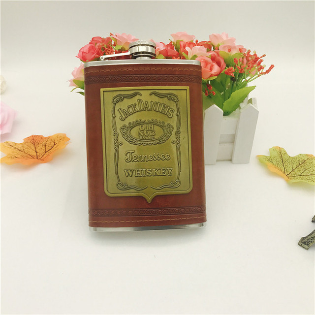 bpa free 9oz whisky flagon Stainless steel alcohol vodka  hip flask with pu leather