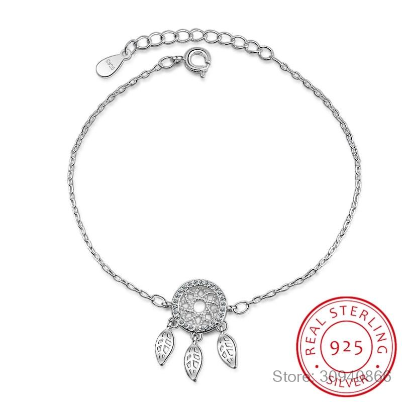 Hot Sale Micro CZ Dream Catcher Bracelet For Women Girl 925 Sterling Silver Dreamcatcher Zirconia Bracelet Pulseira Bijou S-B204