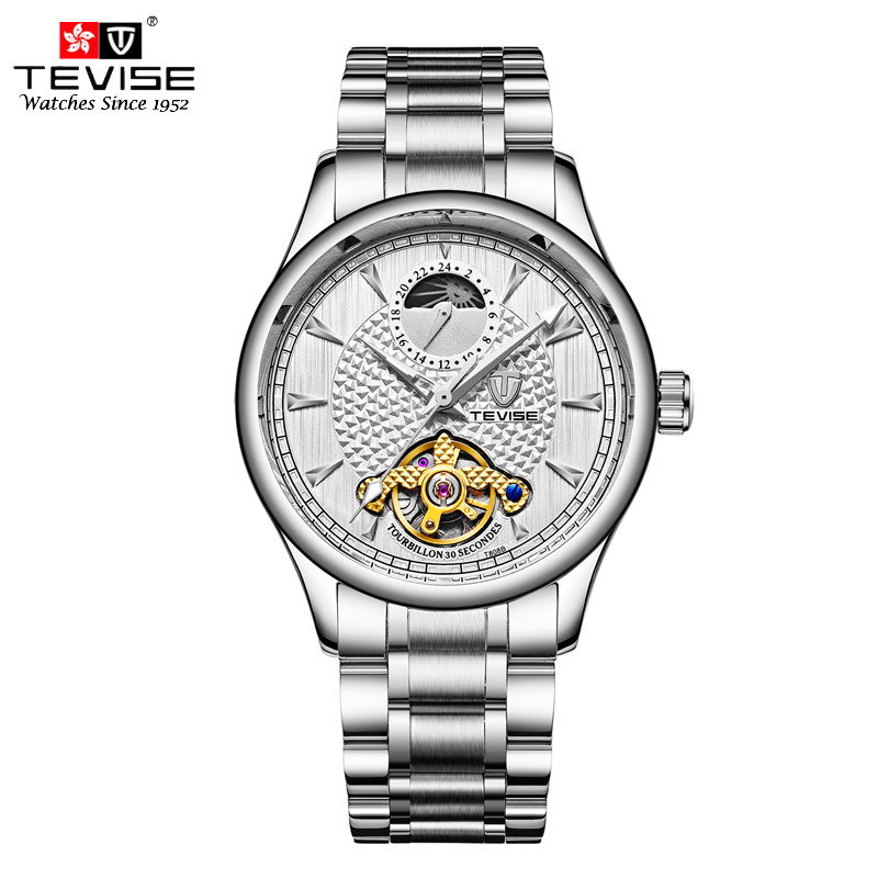 Tevise Moon Phase Top Brand Mens Mechanical Watches Automatic Tourbillon Skeleton Watch Men Stainless Steel 24 hour Clock T808B tevise men automatic self wind mechanical wristwatches business stainless steel moon phase tourbillon luxury watch clock t805d