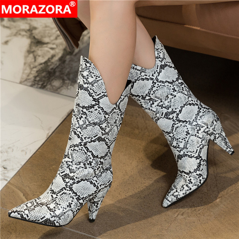 MORAZORA Size 34-43 New Fashion Boots Women Spike High Heels Autumn Winter Boots Snake Printing Leather Mid Calf Boots Female