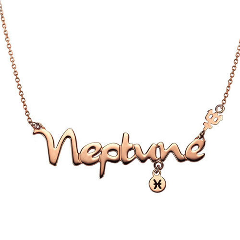 H:HYDE 2018 Hot Sale Constellation Necklace for Women Rose Gold Color Alloy Letter Pendants Personality Fashion Chain Jewelry