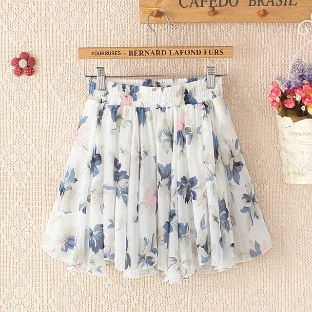 All-match bust skirt skorts female chiffon short skirt pleated floral print mini skirt elastic band waist