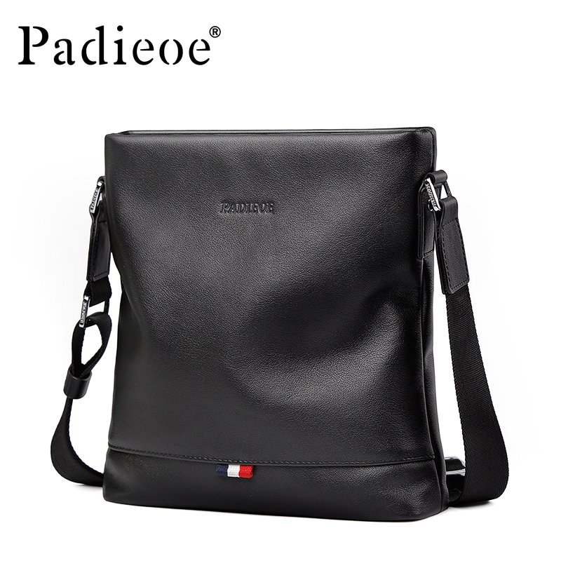 Padieoe Cowhide Leather Business Men Flap Shoulder Bag Brand Genuine Leather Fashion Crossbody Bag Luxury Male Messenger Bags padieoe genuine leather business men s messenger bag casual shoulder crossbody bag for male famous brand fashion travel men bags