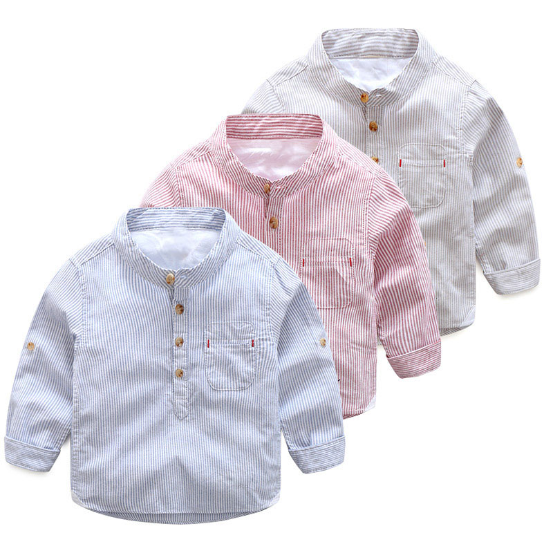 Striped Shirt Spring Autumn New Arrival Boy Children's Clothing Casual Button Long-sleeved Cool Kids Baby Boy Shirt new arrival spring fall children shirt striped long sleeved shirt 100