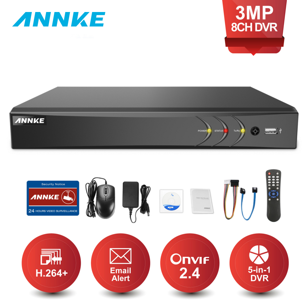 ANNKE 8CH 3MP 5in1 HD TVI CVI AHD TELECAMERA di Sicurezza IP Registratore DVR H.264 + Digital Video Recorde E-mail di Allarme di Movimento detection Onvif 2.4