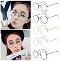 Moda Das Mulheres Do Vintage Vidros do Olho quadros Literário Harajuku grande oval de Metal Simples Espelho óculos de armação Oculos Feminino Masculino