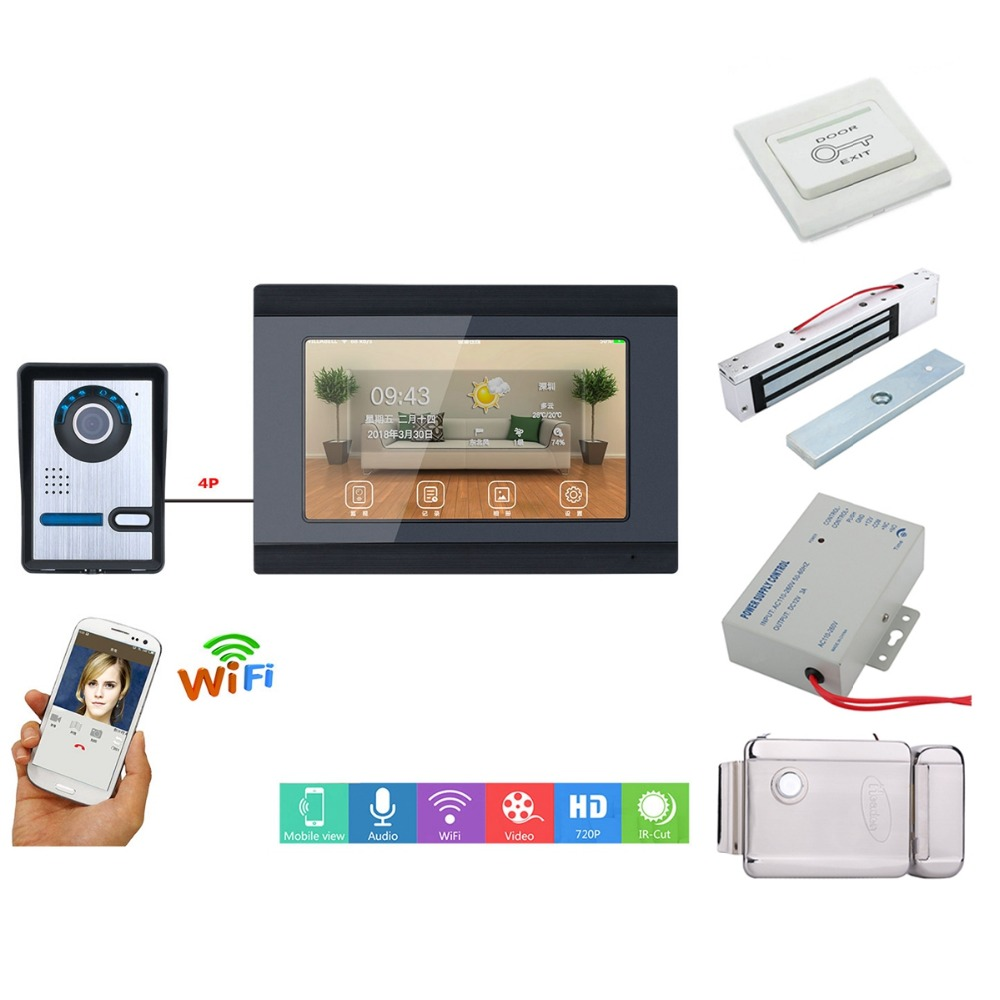 Home Set 7inch Wired Wifi Video Door Phone Doorbell Intercom Entry System With Wired Camera Night Vision+Electric Lock