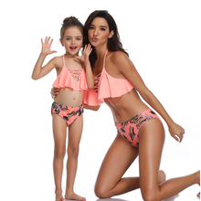 Ruffle Sexy Mother Daughter Swimsuits Flower Mommy And Me Swimwear Bikini Family Look Bathing Suit Matching Girls