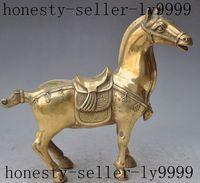 Рождество повезло Китайский Фэншуй латунь Зодиак животных красивый боевой конь крепления статуя Хэллоуин