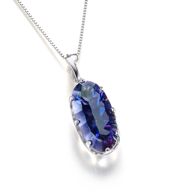 JewelryPalace 11.8ct Genuine Mystical Blue Rainbow Topaz Pendant Solid 925 Sterling Silver Fashion Brand Jewelry Without a Chain