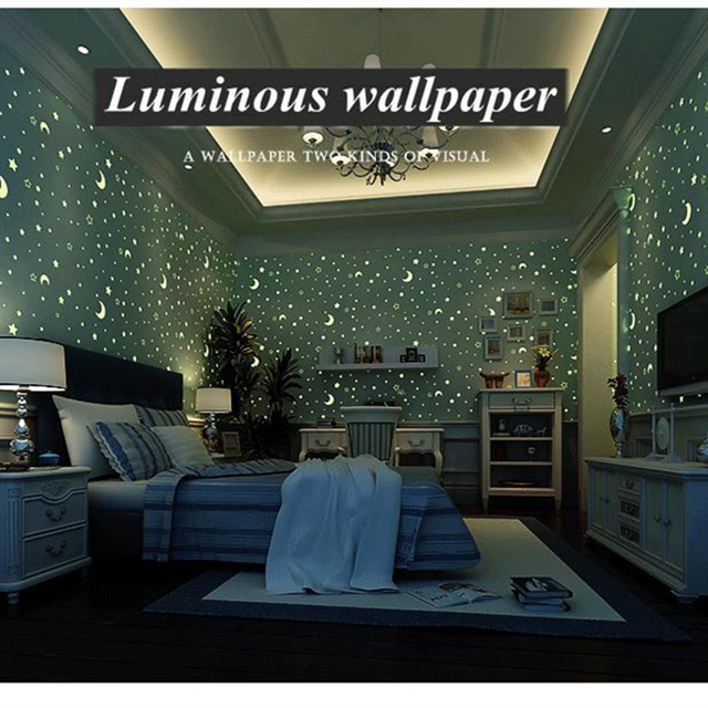 Luminous Glow Effect Wallpapers Ceiling Wall Rolls Night Sky Moon Fluorescent Papers Home