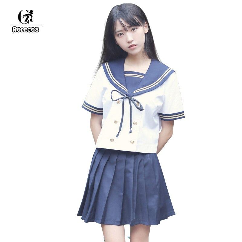 ROLECOS haute qualité étudiants marin costume nouveauté japonais marin costumes bleu Bowknot conception filles école uniformes ensembles