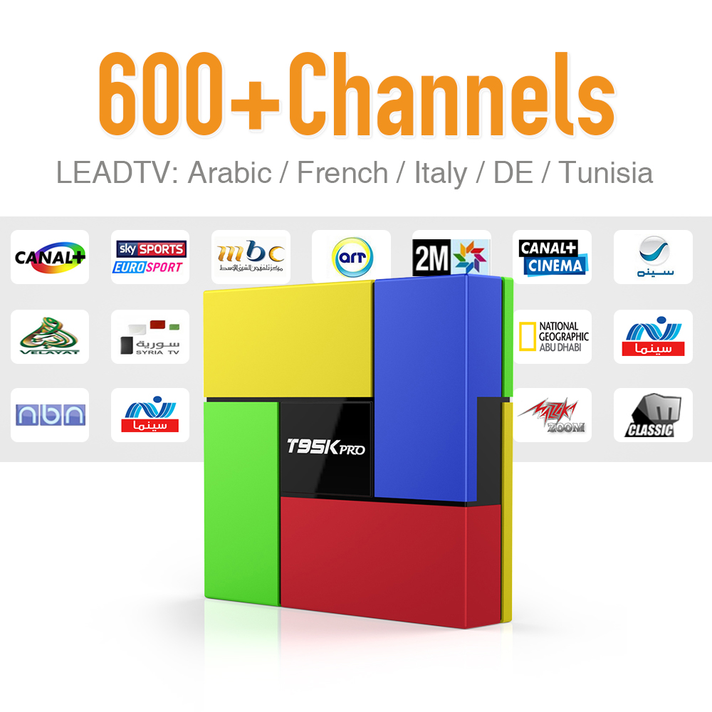 ФОТО T95K 2GB DDR3 Run Faster Android 6.0 TV Box with 600+ Arabic Europe French Sport News Travel IPTV Subscription 4k HD Tv Receiver