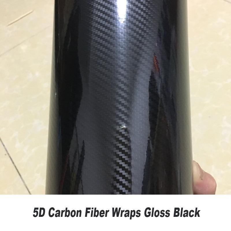 5D Waterproof Vinyl Wrap Carbon Fiber Bubble Vehicle Sticker Firm Wrapping Decals Exterior & Interior DIY Decoration (Black))