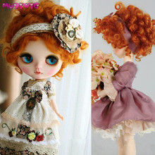 MUZIWIG Heat Resistant Synthetic Short orange red deep Curly Cute doll wig hair for 1/3 1/4 1/6 bjd SD dolls wigs accessories brand new heat resistant synthetic pink purple blended straight soft bjd doll wig with bangs 1 3 1 4 1 6 1 8 for choice