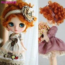 MUZIWIG pelo corto sintético resistente al calor, peluca para muñeca con rizos profundos, color naranja y rojo, para muñeca bjd SD, accesorios para muñecas, 1/3, 1/4, 1/6