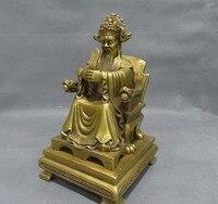 8 Китайская Чистая латунь Статуэтка символ богатства Статуэтка божества Будды Голова Дракона нефритовый император