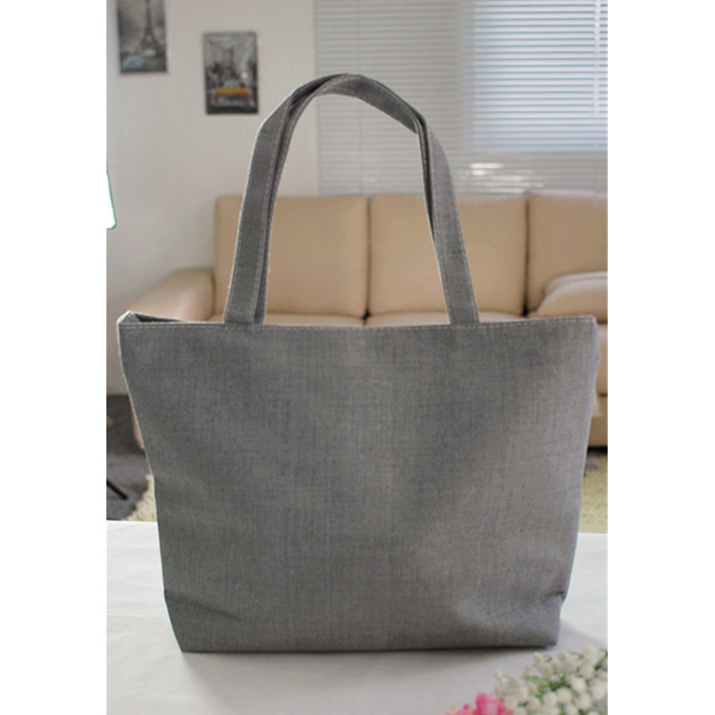 1Pc Grey Canvas Women Shoulder Bag Beach Bag Shopper Handbag Customize  Printed Advertise Bag Tote-in Shoulder Bags from Luggage   Bags on  Aliexpress.com ... 55f7b522c3