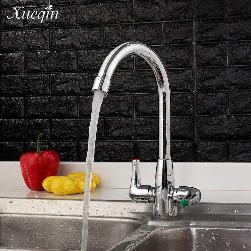 Xueqin Modern Design Double Handle Kitchen Sink Swivel Spout Mixer Tap Water Faucet Bathroom Bathtub Faucet