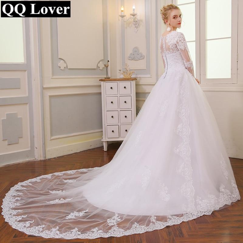 QQ Lover Manga Longa A Line Vintage Wedding Dress Long Sleeve Bride Dress Wedding Gown Vestido De Noiva Vestido De Casamento