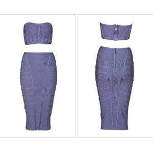 Image 4 - Seamyla Mới Lưng Giữa Sexy Gợi Cảm Băng Đô Đầm Vestidos Verano Mùa Hè 2019 2 Hai Mảnh Bộ Nữ Ôm Body Xám Người Nổi Tiếng Đầm Dự Tiệc