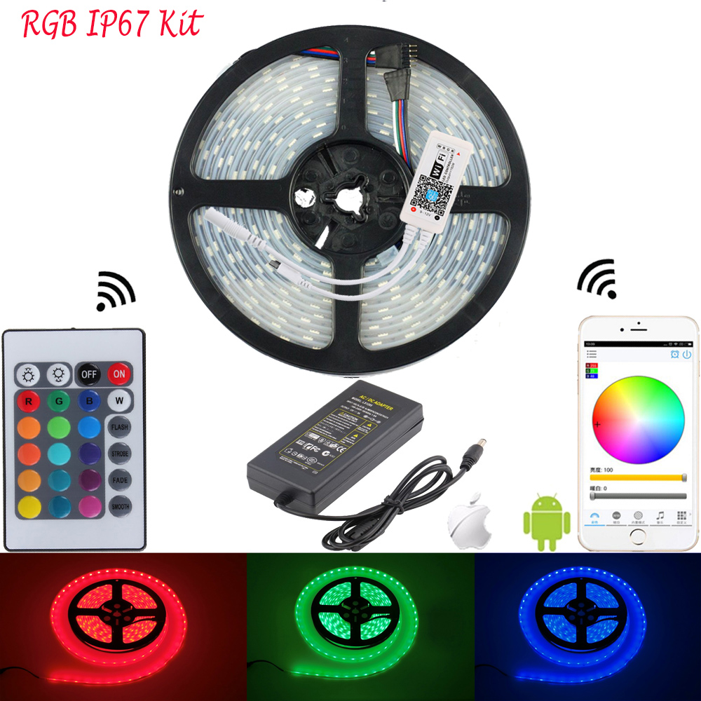 5050 RGB LED WIFI Strips Lighting Tape 60LED/M IP65 IP67 IP68 Waterproof Flexible Tiras WIFI LED Controller Remote DC12V Adapter