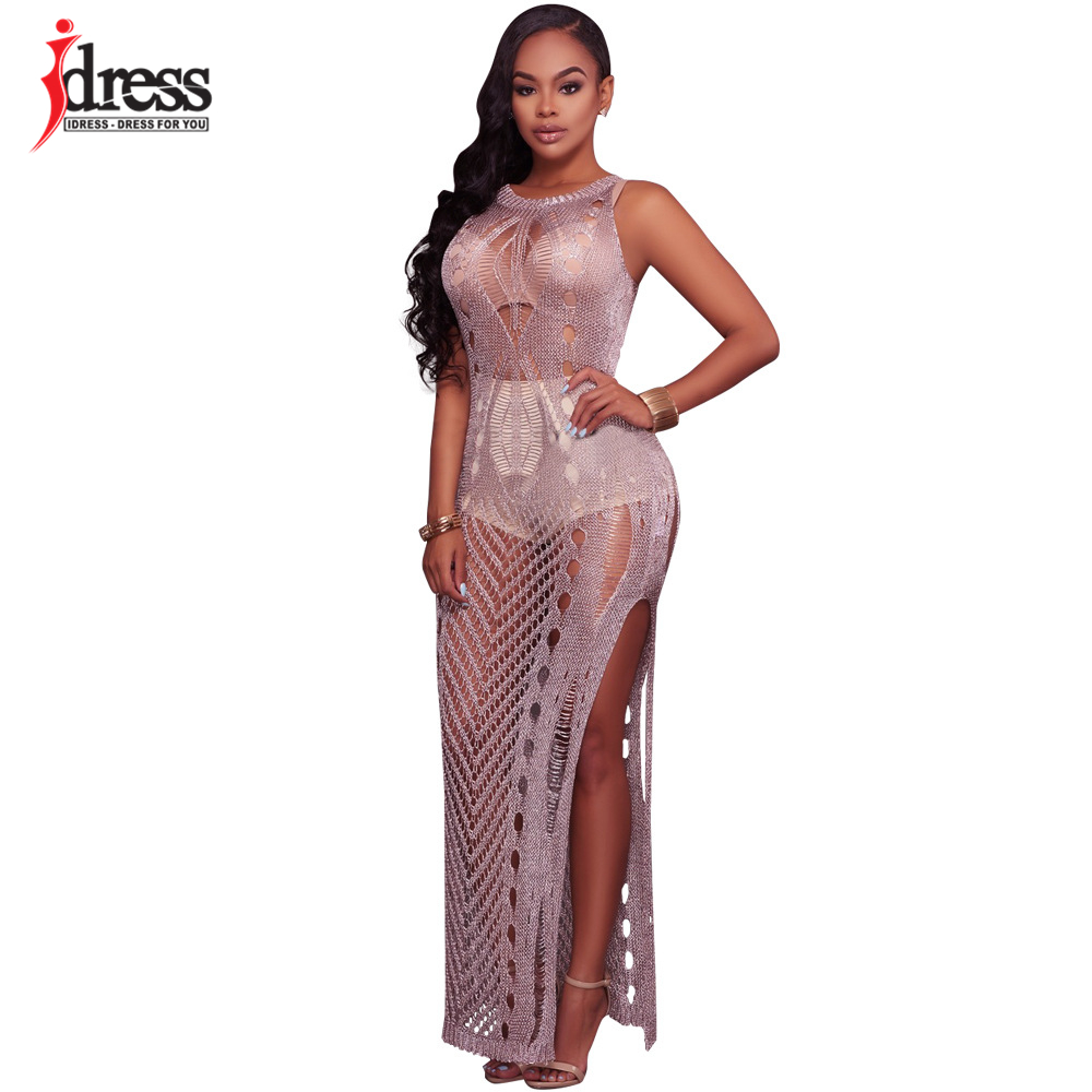 6a5a22ab80 IDress Women Night Club Hollow Out Bodycon Maxi Dress Sexy Sleeveless See  Through Split Knitted Long